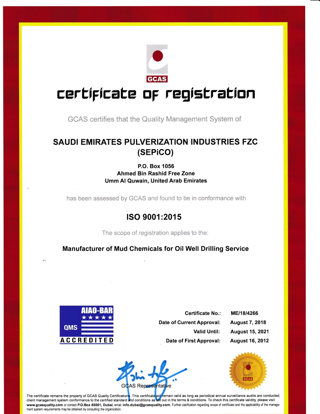ISO Certificate of Quality